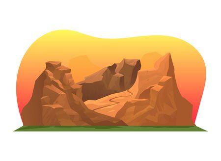 Sunset orange desert mountain range, mud prairie alpine american place isolated on white, cartoon vector illustration. Mountainous valley natural. Vectores