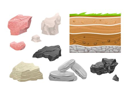 Concept icon set mountain rock, different natural stone isolated on white, cartoon vector illustration. Type block granite, clay and obsidian. Stock Illustratie