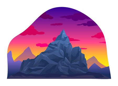 Sunset mountain range natural landscapes, volcanic rock mountain background isolated on white, cartoon vector illustration. Sunrise alpine place, wild area margin. Concept eco clean earth location.