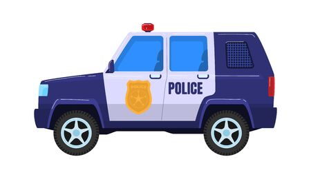 Police special car transport, truck vehicle militia service isolated on white, cartoon vector illustration. Concept icon police force wagon.