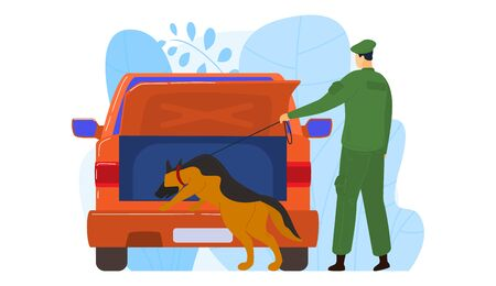 K9 militia dog officer, male character policeman looking evidence in criminal vehicle isolated on white, cartoon vector illustration. Special animal seek illegal drugs, suspect car.