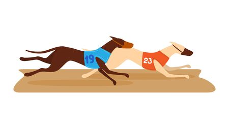 Competition dog running, contest fleeing hound round isolated on white, cartoon vector illustration. Money bet tournament animal race, fastest doggy breed compete, gambling type sport.