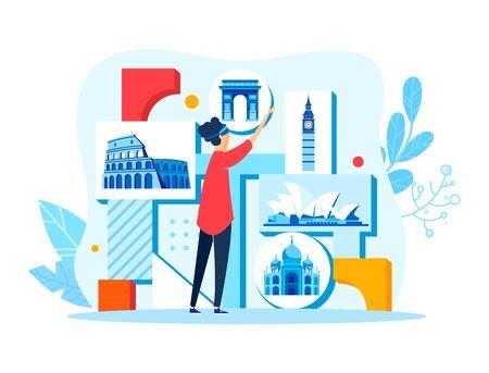 Tiny female character select world landmark to journey, woman planning travel isolated on white, cartoon vector illustration. Illusztráció