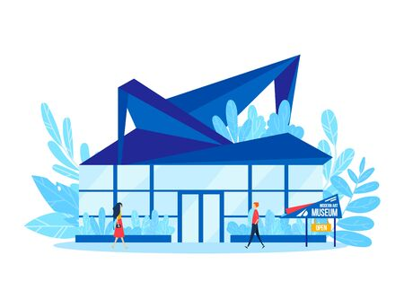 Modern art museum, people character visit conceptually creative gallery building isolated on white, cartoon vector illustration.