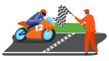 Male character ride sportbike, world tournament moto competition man first place finish line isolated on white, cartoon vector illustration. Motorbike racing contest, dangerous type sport. Stock Illustratie