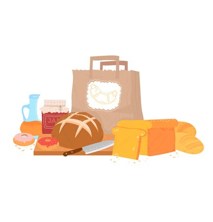 Bread pastry foodstuff, flour loaf and doughnut meal isolated on white, cartoon vector illustration. Kitchen board with knife. Illusztráció