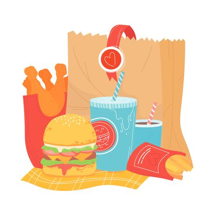 Unhealthy foodstuff paper package basket, item fast food isolated on white, cartoon vector illustration. Concept burger, carbonated drink and french fries.
