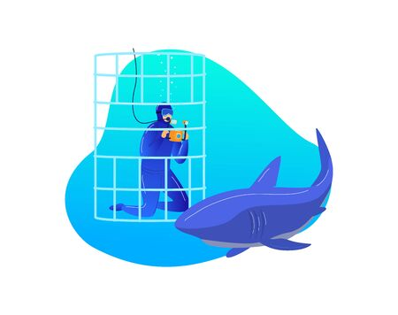 Research underwater shark, extreme entertainment male diver photography predatory fish isolated on white, cartoon vector illustration. Man sitting in save metal cage, video record ocean fish animal.