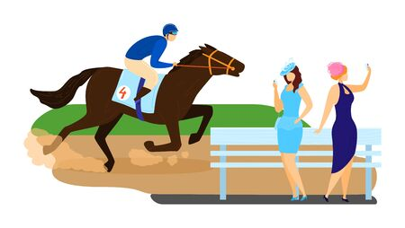Man character horse ride, running tournament competition stallion racing isolated on white, cartoon vector illustration. Woman together watch equestrian sport, gambling type fleeing game.