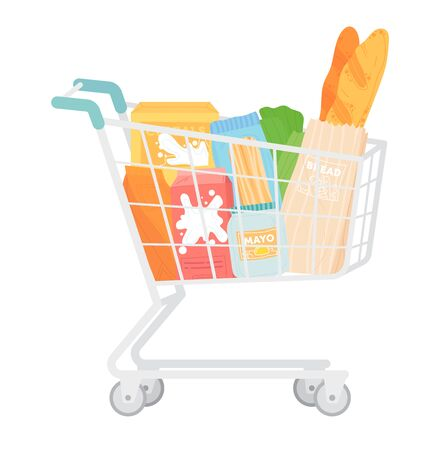 Metal market cart with food basket, foodstuff item bread, mayo milk and green herb isolated on white, cartoon vector illustration. Supermarket shopping trolley, buy weekly meal stock.