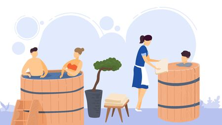 Wooden bath relax, heat spa relaxation therapy and hot steam healthcare for people, scandinavian bathhouse vector illustration.