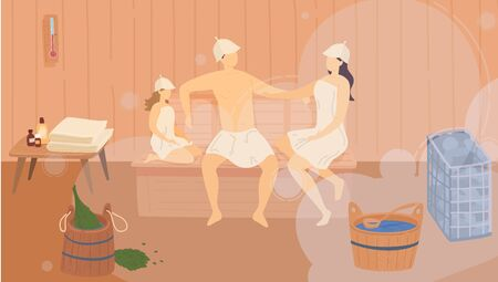 Family in sauna wooden bathhouse, heat spa relaxation therapy and hot steam healthcare for people, relax vector illustration.  イラスト・ベクター素材