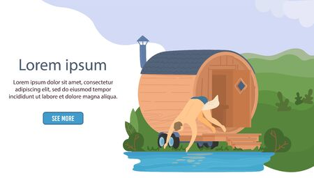 Sauna wooden bathhouse, heat spa relaxation therapy bath and hot steam healthcare web banner, relax therapy vector illustration. Illustration