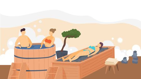 Sauna wooden bath, heat spa relaxation therapy and hot steam healthcare for people, relax therapy vector illustration.