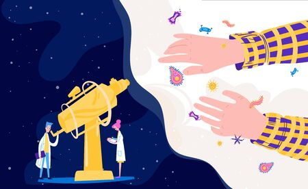 Discovery, science, life search in univerce, microbiology and astronomy study vector illustration. Scientific research of viruses and bacterias in cosmos.