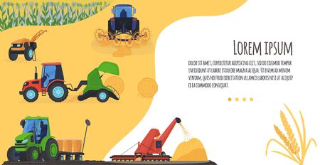 Agriculture farming vector illustration, cartoon flat process of harvesting crops on agricultural agrarian tractor or combine harvester