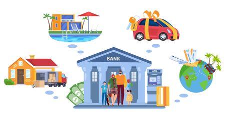 Crédit bancaire pour les rêves de famille, concept d'achat de biens immobiliers et de voiture, voyage à crédit, assistance bancaire à la famille, illustration vectorielle isolée.