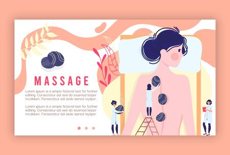 Massage procedures service vector illustration, cartoon flat tiny masseurs character give massage, spa therapy treatments in beauty salon