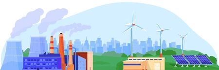 Power energy generator vector illustration, cartoon flat landscape with nuclear reactor station, wind turbine, solar panel isolated on white