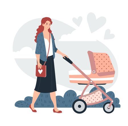 Young character mother walking baby stroller natural ecology clean outdoor park isolated on white, flat vector illustration.