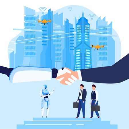 Robots in business future robotic technology, businessmans human hand shaking robots on futuristic cityscape flat vector illustration.