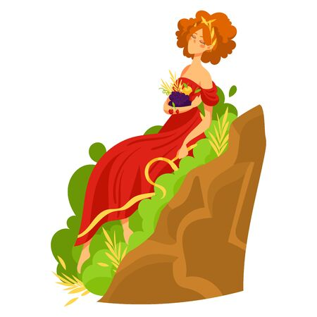 Redhead woman character greek human rest, hellenic female sitting leaf grass place isolated on white, cartoon vector illustration.