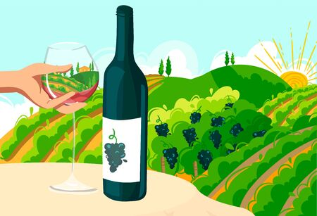 Travel in Italy poster with wine bottle, hand holding glass on vineyard field in nature landscape in green Tuscany, Italy vector illustration.
