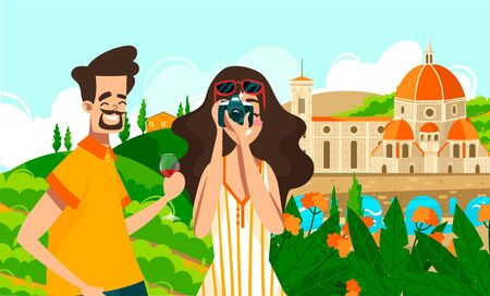 Travel to Italy, tourism on vacation or studying Italian vector illustration of italian people and landmarks. Italian Rome. Stock fotó - 149557923