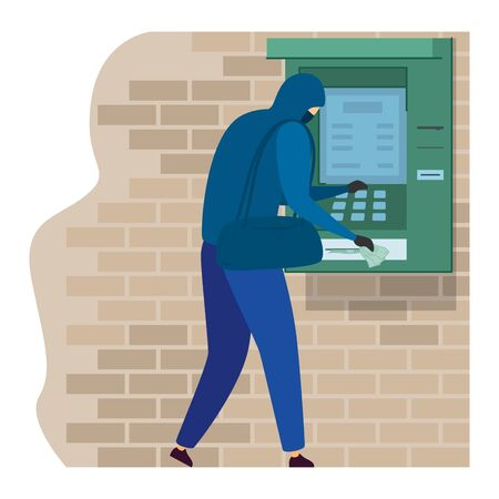 Character male black suspicious suit steal money from cash machine isolated on white, flat vector illustration. Atm banking place. Çizim