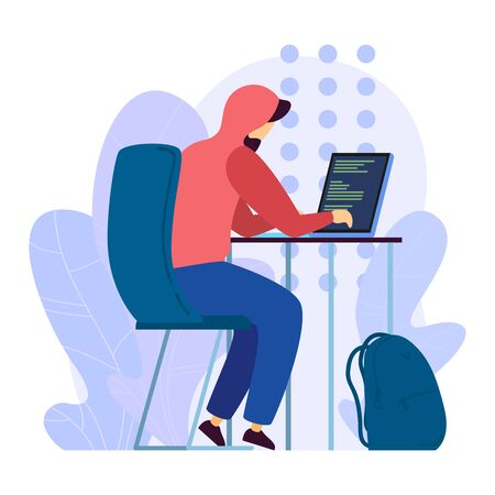 Digital hacker attack remote server, character male programming sitting laptop isolated on white, flat vector illustration.