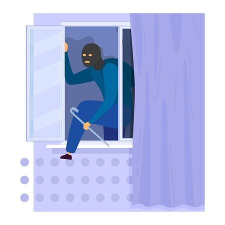Character male thief climbed window with tire iron, breaking glass box robbing house isolated on white, flat vector illustration. Stok Fotoğraf - 149559836