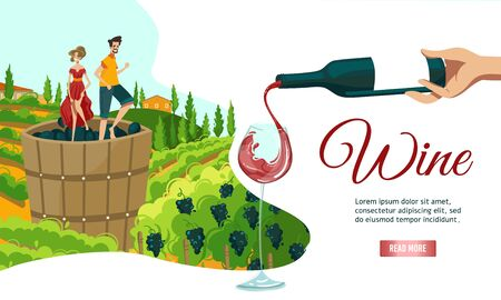 Wine making web banner vector illustration. Wine makers harvesting on vineyard, crushing and pressing grapes in wooden barrel.