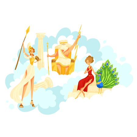 Character greek male female sitting sky kingdom, cloudy heaven place isolated on white, cartoon vector illustration. Zeus Hera with peacock, Artemis.
