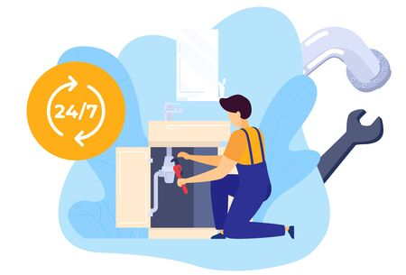 Repair worker plumber with tools fixes tubing in kitchen, workman, home technician service, handyman isolated vector illustration.