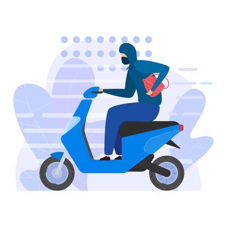 Street thief robber in black face mask ride motorbike, male character raider stolen woman red handbag flat vector illustration.
