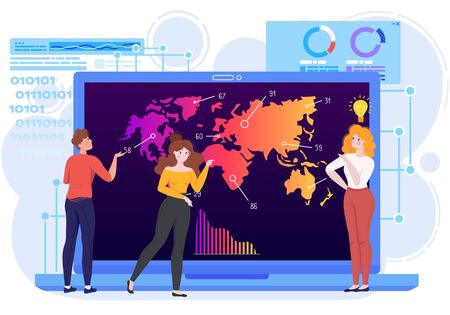 Analysis statistics chart graph vector illustration, cartoon flat tiny man woman characters standing next to computer screen with world map