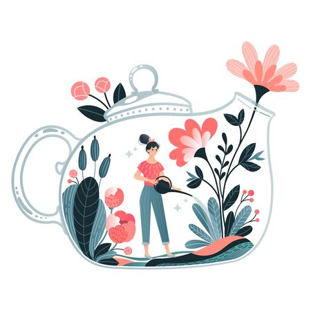 Tiny woman character watering house plant, magic flask bank area isolated on white, flat vector illustration. Ecology activist care natural.
