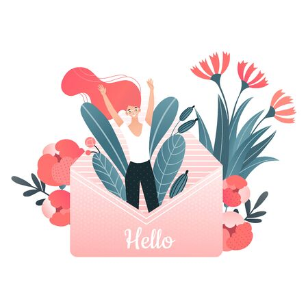Cheerful character woman jump from lovely message, letter hello text isolated on white, flat vector illustration. Ecology blossom flower natural. Çizim