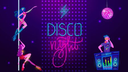 Neon party in night disco club, music glow, bright light vector illustration. Sexy girls dancing in disco bodysuit and dj music. Neon nightclub glowing vibes with electric lights. Banque d'images - 149583329