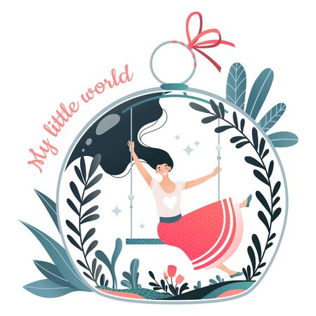 Cheerful character woman swinging bench, my little world concept isolated on white, flat vector illustration. Female sitting flask bank glass ball.