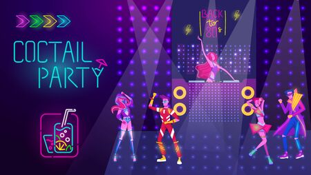 Coctail party in night disco club, people dance, bright neon light vector illustration. Dancing in disco music. Neon nightclub glowing vibes with electric lights in retro techno style. Banque d'images - 149583332