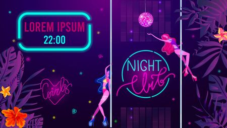 Night club invitation with girls, disco music glow, bright light vector illustration. Sexy girls dancing in disco bodysuit. Party or performance poster of nightclub glowing neon electric lights. Banque d'images - 149583331