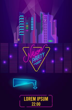 Night club party invitation with night cityscape neon lights disco music glow light vector illustration. Neon party or performance poster of nightclub glowing neon electric lights. Banque d'images - 149583333