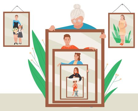 Woman age vector illustration. Cartoon flat elderly lady holding mirror with reflection of aging process and different life periods, young girl or middle aged woman, old woman and mother with daughter