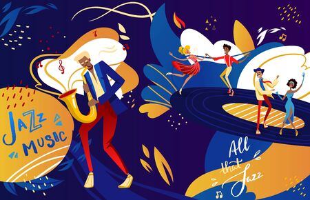 Jazz festival dance party vector illustration. Cartoon flat couple dancer people dancing to jazz music, musician man character playing saxophone, retro festive show in night club poster background Stock Illustratie