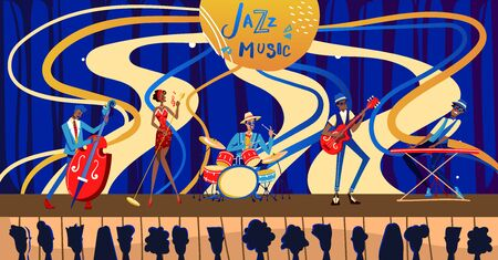 Jazz festival concert vector illustration. Cartoon flat musician characters band playing jazz music at live concert night show in nightclub for fan people, woman singer singing retro poster background