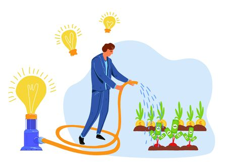 Money investment and business idea, vector illustration of businessman with his ideas in form of light bulbs growing money. Financial ideas, creativity and innovation in economy. Vettoriali