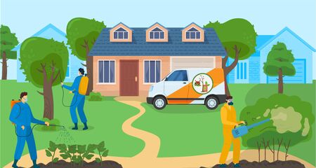Pest control services banner with people detecting exterminating insects, professional disinfection against insects vector illustration. Insecticide pest control people with equipment.