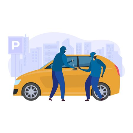 Door breaking auto machine, male character with accomplice street robber isolated on white, flat vector illustration. Car theft city urban landscape. Reveal window vehicle doorway pick lock. Stok Fotoğraf - 149566512