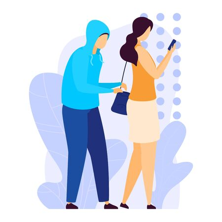 Street robber pickpocket steal money from woman handbag, character male thief cutpurse rob amount cash isolated on white, flat vector illustration. Female hold hand smartphone ignore burglar.